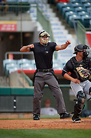 Umpire Dillon Wilson strikeout call during a Florida State League game between the Jupiter Hammerheads and Florida Fire Frogs on April 8, 2019 at Osceola County Stadium in Kissimmee, Florida.  Florida defeated Jupiter 7-6 in ten innings.  (Mike Janes/Four Seam Images)