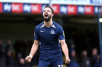 Stephen McLaughlin of Southend United celebrates after his shot was deflected into the net for the third goal during Southend United vs Bristol Rovers, Sky Bet EFL League 1 Football at Roots Hall on 7th March 2020
