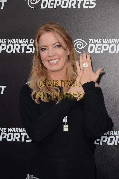 Jeanie Buss .Time Warner Sports Celebrates Launch Of Time Warner Cable Sportsnet And Time Warner Cable Deportes Networks held at Beverly Hills Hotel, El Segundo, California, USA..October 1st, 2012.half length black dress top nail varnish polish greige silver ring.CAP/ADM/TW.©Tonya Wise/AdMedia/Capital Pictures.