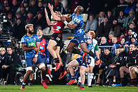11th July 2020, Christchurch, New Zealand;  George Bridge of the Crusaders takes a high ball from Mark Telea of the Blues during the Super Rugby Aotearoa, Crusaders versus Blues, at Orangetheory Stadium, Christchurch