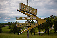 An old vintage sign along Route 66 near Lebanon Missouri.