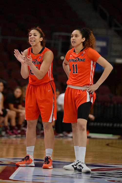 March 6, 2014; Las Vegas, NV, USA; Pepperdine Waves guard Allie Green (22, left) and guard Ea Shoushtari (11) against the Santa Clara Broncos during the second half of the WCC Basketball Championships at Orleans Arena. The Waves defeated the Broncos 80-74.