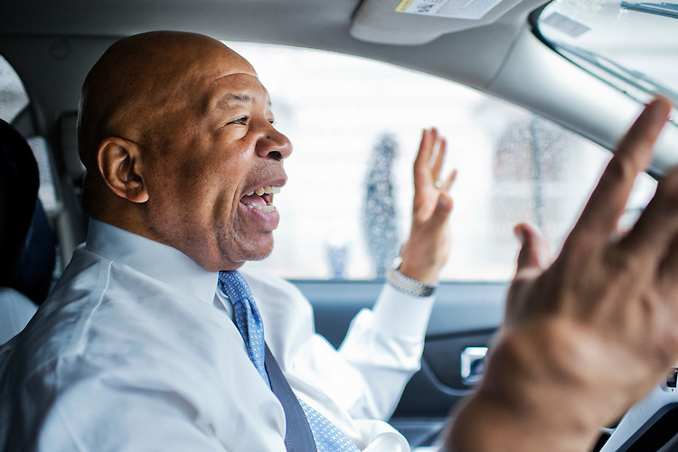 UNITED STATES - OCTOBER 22: Rep. Elijah Cummings, D-Md., drives to an event organized by the Johns Hopkins Center for AIDS Research in Baltimore, Md., October 22, 2014., where he would deliver a speech. (Photo By Tom Williams/CQ Roll Call)