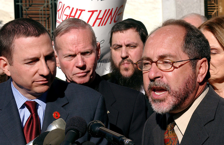 "11/16/04.CONSERVATIVES AGAINST SPECTER--Rev. Rob Schenck, president of the National Clergy Council, Father Denis G. Wilde, of Priests for Life, Rabbi Yehuda Levin, of the Union of Orthodox Rabbis, and Rev. Patrick J. Mahoney, of the Christian Defense Coalition, during a ""pray-in"" at the Dirksen Senate Office Building of several conservative groups against Sen. Arlen Specter, R-Pa., to be chairman of the Senate Judiciary Committee, because of his positions on abortion, the federal marriage amendment and other social issues. .CONGRESSIONAL QUARTERLY PHOTO BY SCOTT J. FERRELL"