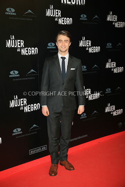 WWW.ACEPIXS.COM . . . . .  ..... . . . . US SALES ONLY . . . . .....February 14 2012, Madrid....Daniel Radcliffe at the premiere of 'The Woman in Black' at Callao Cinema on February 14, 2012 in Madrid, Spain.....Please byline: FD/ACE Pictures, Inc.... . . . .  ....Ace Pictures, Inc:  ..Tel: (212) 243-8787..e-mail: info@acepixs.com..web: http://www.acepixs.com