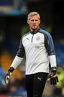 Kasper Schmeichel of Leicester city warms up before Chelsea vs Leicester City, Premier League Football at Stamford Bridge on 13th January 2018