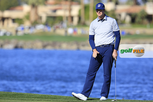 Hudson Swafford (USA) putts on the 18th green during Saturday's Round 3 of the 2017 CareerBuilder Challenge held at PGA West, La Quinta, Palm Springs, California, USA.<br /> 21st January 2017.<br /> Picture: Eoin Clarke   Golffile<br /> <br /> <br /> All photos usage must carry mandatory copyright credit (&copy; Golffile   Eoin Clarke)