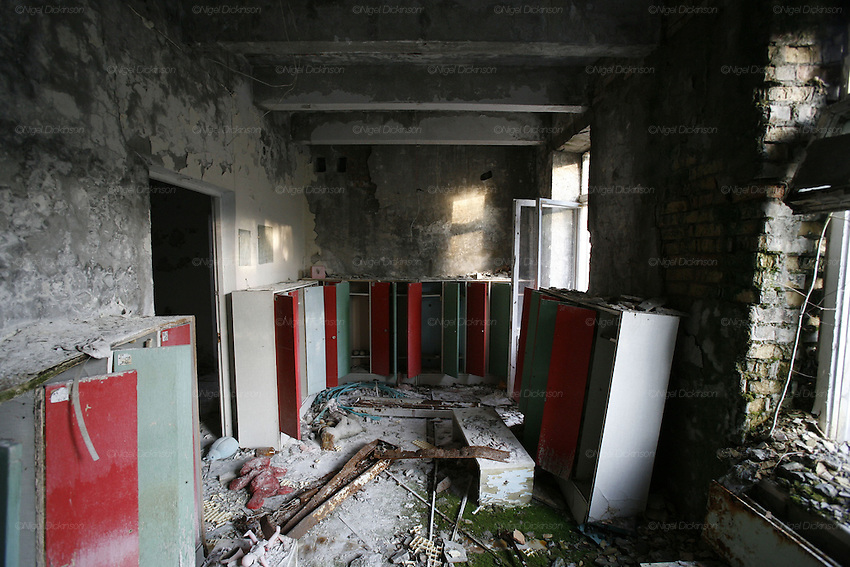 Chernobyl, Exclusion Zone, Ukraine. Maternity Hospital locker room. Pripyat Town built 15 years before the Chernobyl reactor fire. The whole town was evacuated shortly after. The  Chernobyl Reactor, towns, plant and environs just before the 20th anniversary of the nuclear disaster.