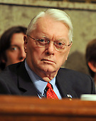 """Washington, D.C. - September 23, 2008 -- United States Senator Jim Bunning (Republican of Kentucky) questions the witnesses during the United States Senate Committee on Banking, Housing and Urban Affairs hearing on """"Turmoil in US Credit Markets: Recent Actions Regarding Government Sponsored Entities, Investment Banks and Other Financial Institutions"""" in Washington, D.C. on Tuesday, September 23, 2008.  The hearing focused on the United States Government's proposed 700 billion U.S. dollar bail-out of the banking system caused by poor lending practices of U.S. banks.<br /> Credit: Ron Sachs / CNP"""