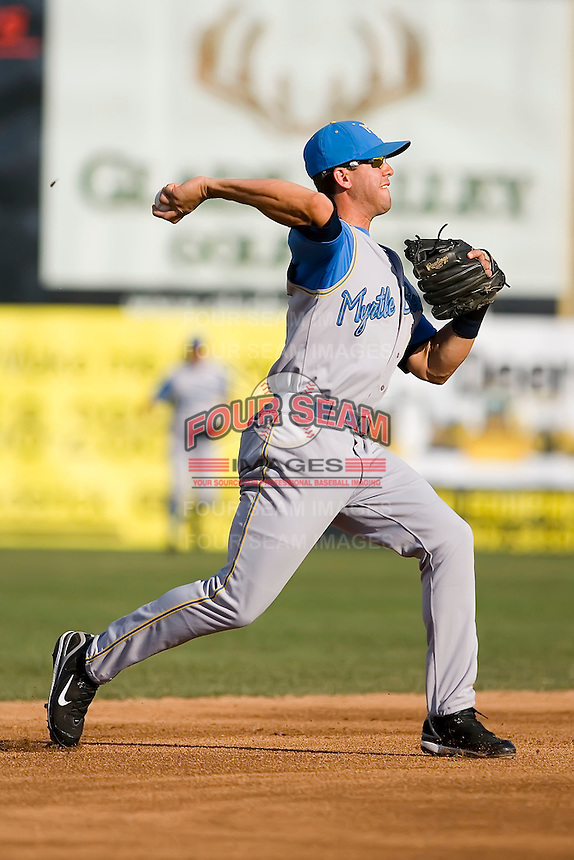 Shortstop Brandon Hicks (8) of the Myrtle Beach Pelicans makes a throw to first base at Harry Grove Stadium in Frederick, MD, Monday July 14, 2008. (Photo by Brian Westerholt / Four Seam Images)