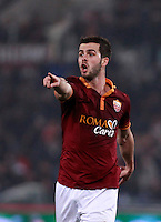 Calcio, quarti di finale di Coppa Italia: Roma vs Juventus. Roma, stadio Olimpico, 21 gennaio 2014.<br /> AS Roma midfielder Miralem Pjanic, of Bosnia, gestures during the Italian Cup round of eight final football match between AS Roma and Juventus, at Rome's Olympic stadium, 21 January 2014.<br /> UPDATE IMAGES PRESS/Isabella Bonotto