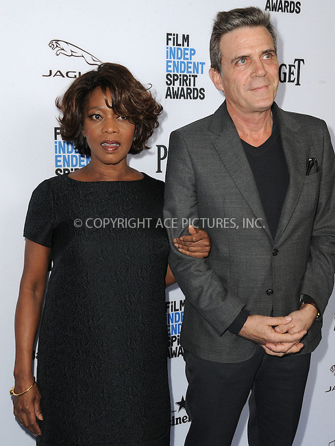 WWW.ACEPIXS.COM<br /> <br /> January 9 2016, New York City<br /> <br /> Actress Alfre Woodard and Roderick Spencer arriving at the 2016 Film Independent Filmmaker Grant and Spirit Award Nominees Brunch at BOA Steakhouse on January 9, 2016 in West Hollywood, California. <br /> <br /> By Line: Peter West/ACE Pictures<br /> <br /> <br /> ACE Pictures, Inc.<br /> tel: 646 769 0430<br /> Email: info@acepixs.com<br /> www.acepixs.com