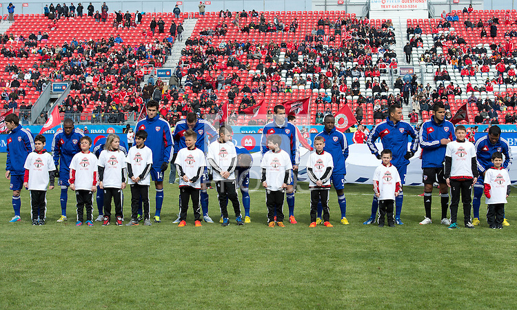 06 April 2013: The FC Dallas team during the opening ceremonies in an MLS game between FC Dallas and Toronto FC at BMO Field in Toronto, Ontario Canada..The game ended in a 2-2 draw..