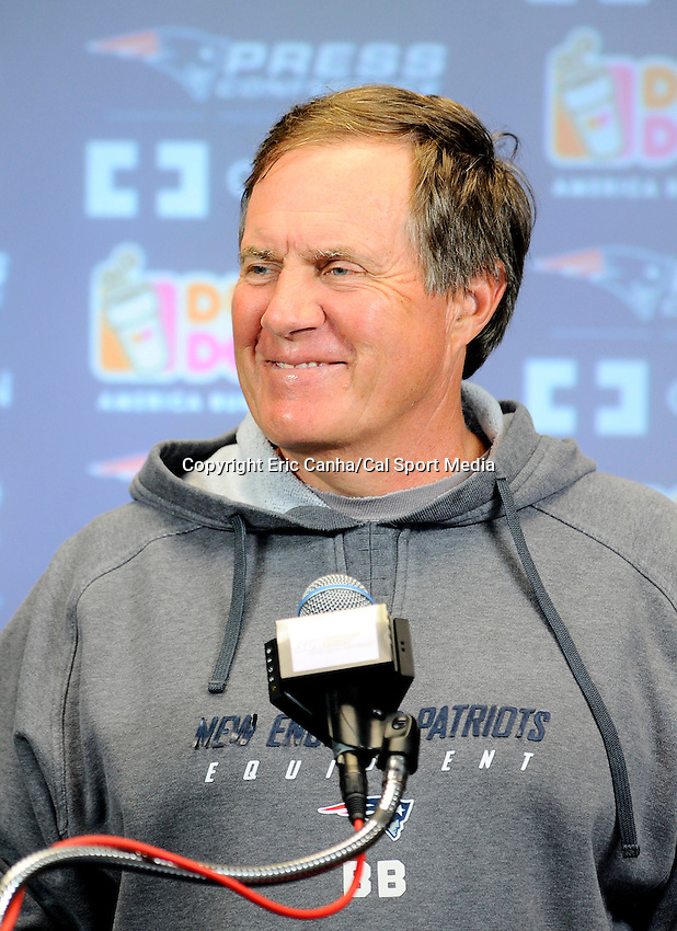 June 13 2012   New England Patriots head coach Bill Belichick answers questions from the media at  the New England Patriots mini camp held at Gillette Stadium, in  Foxborough, Massachusetts. Eric Canha/CSM