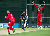 ICC World T20 Qualifier (Warm up match) - Canada V Western District Cricket Union select at Grange CC, Edinburgh - West District batsman Qasim Sheikh survives an lbw shout — credit @ICC/Donald MacLeod - 06.7.15 - 07702 319 738 -clanmacleod@btinternet.com - www.donald-macleod.com