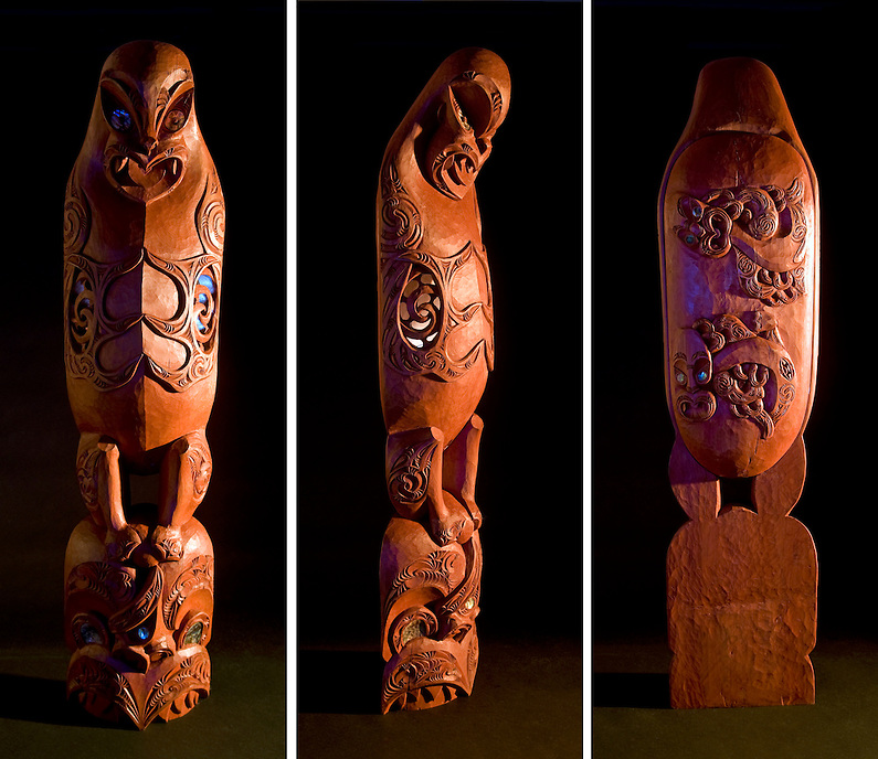 Maori burial chest carved by Malcolm Cox of Whaingaroa.