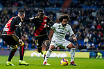 Marcelo Vieira Da Silva of Real Madrid (R) fights for the ball with Luis Advincula of Rayo Vallecano during the La Liga 2018-19 match between Real Madrid and Rayo Vallencano at Estadio Santiago Bernabeu on December 15 2018 in Madrid, Spain. Photo by Diego Souto / Power Sport Images