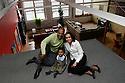 EASTHAMPTON, MA.--APRIL 13, 2006--  Julius Ford, Deborah Ferreira and Phoenix, tenants at Eastworks.PHOTO BY JODI HILTON
