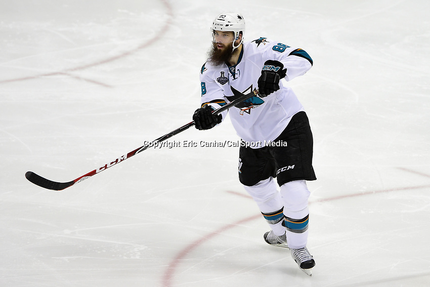 Thursday, June 9, 2016: San Jose Sharks defenseman Brent Burns (88) in game action during game 5 of the NHL Stanley Cup Finals  between the San Jose Sharks and the Pittsburgh Penguins held at the CONSOL Energy Center in Pittsburgh Pennsylvania. The Sharks defeat the Penguins 4-2 in regulation time. The Penguins lead the best of seven series 3-2. Eric Canha/CSM