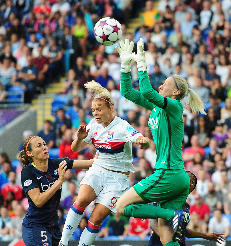 Olympique Lyonnais' Eugenie Le Sommer vies for possession with Paris Saint-Germain's Katarzyna Kiedrzynek<br /> <br /> Photographer Kevin Barnes/CameraSport<br /> <br /> UEFA Women's Champions League Final - Lyon Women v Paris Saint-Germain Women - Thursday 1st June 2017 - Cardiff City Stadium<br />  <br /> World Copyright &copy; 2017 CameraSport. All rights reserved. 43 Linden Ave. Countesthorpe. Leicester. England. LE8 5PG - Tel: +44 (0) 116 277 4147 - admin@camerasport.com - www.camerasport.com