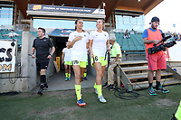 Cary, North Carolina  - Saturday August 05, 2017: Carson Pickett and Lindsay Elston prior to a regular season National Women's Soccer League (NWSL) match between the North Carolina Courage and the Seattle Reign FC at Sahlen's Stadium at WakeMed Soccer Park. The Courage won the game 1-0.