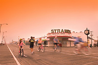 People traveling on the Ocean City Boardwalk, Ocean City, New Jersey