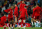 Dejan Lovren of Liverpool and Virgil van Dijk of Liverpool jump during the warmup before the UEFA Champions League match at Anfield, Liverpool. Picture date: 27th November 2019. Picture credit should read: Andrew Yates/Sportimage
