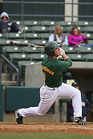 George Mason outfielder Dan Schafferman #11 at bat during a game against the West Virginia Mountaineers at BB&T Coastal Field on February 26, 2012 in Myrtle Beach, SC.  George Mason defeated West Virginia 1-0. (Robert Gurganus/Four Seam Images)