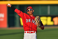 Outfielder Lorenzo Cedrola (5) of the Greenville Drive at the team's first workout of the season on Tuesday, April 4, 2017, at Fluor Field at the West End in Greenville, South Carolina. (Tom Priddy/Four Seam Images)