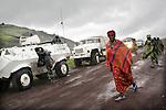 © Remi OCHLIK/IP3, Goma, Republique Democratique du Congo, le 19 novembre 2008 - Une patrouille de soldats indiens de la MONUC securise la route entre Goma et le camps de Kibati, non loin de la ligne de front..MONUC patrol in the streets of Goma
