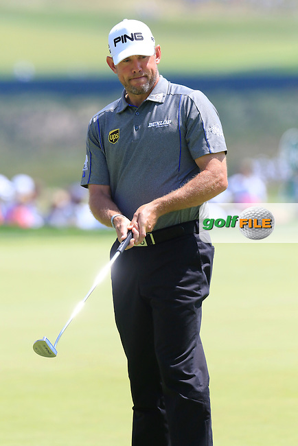 Lee Westwood (ENG) on the practice green during Wednesday's Practice Day of the 2016 U.S. Open Championship held at Oakmont Country Club, Oakmont, Pittsburgh, Pennsylvania, United States of America. 15th June 2016.<br /> Picture: Eoin Clarke   Golffile<br /> <br /> <br /> All photos usage must carry mandatory copyright credit (&copy; Golffile   Eoin Clarke)