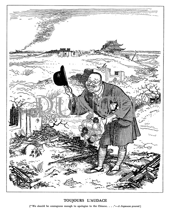 """Toujours L'Audace. [""""We should be courageous enough to apologise to the Chinese..."""" A Japanese general.]"""