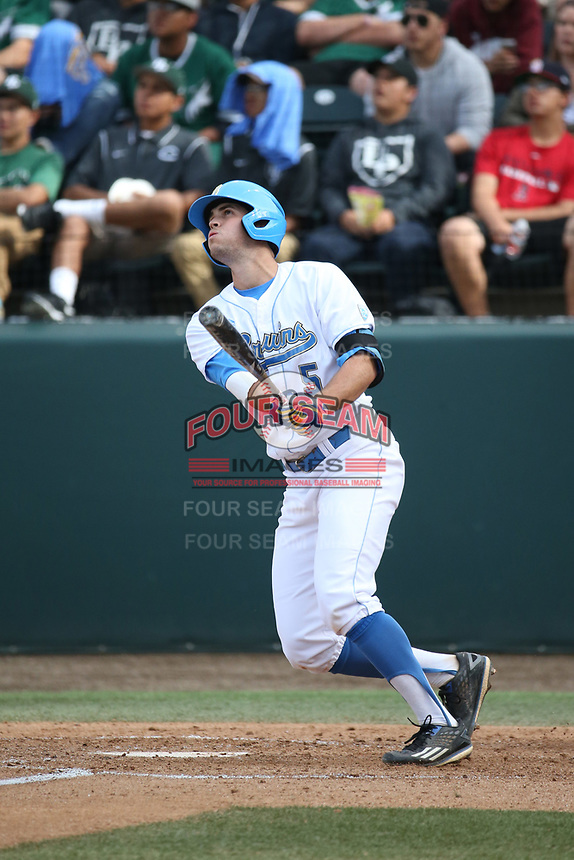 Sean Bouchard (5) of the of UCLA Bruins bats against the University of San Diego Toreros at Jackie Robinson Stadium on March 4, 2017 in Los Angeles, California.  USD defeated UCLA, 3-1. (Larry Goren/Four Seam Images)