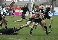 11 March 2013; Jonny Stewart in action during the Medallion Shield Final between Wallace High School and Campbell College at Ravenhill, Belfast, DICKSONDIGITAL
