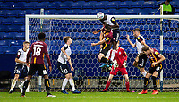 Bolton Wanderers' Yoan Zouma heads clear from defence<br /> <br /> Photographer Andrew Kearns/CameraSport<br /> <br /> EFL Leasing.com Trophy - Northern Section - Group F - Bolton Wanderers v Bradford City -  Tuesday 3rd September 2019 - University of Bolton Stadium - Bolton<br />  <br /> World Copyright © 2018 CameraSport. All rights reserved. 43 Linden Ave. Countesthorpe. Leicester. England. LE8 5PG - Tel: +44 (0) 116 277 4147 - admin@camerasport.com - www.camerasport.com
