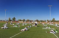 Sept. 16, 2009; Casa Grande, AZ, USA; California Redwoods players stretch during training camp at the Casa Grande Training Facility & Performance Institute. Mandatory Credit: Mark J. Rebilas-