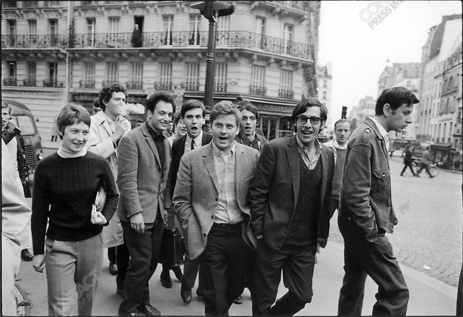 Daniel Cohn-Bendit and Jean-Pierre Duteuil (glasses), near Sorbonne University, Paris, France, May 6, 1968