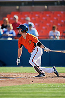 Frederick Keys center fielder Ryan McKenna (10) follows through on a swing during the first game of a doubleheader against the Lynchburg Hillcats on June 12, 2018 at Nymeo Field at Harry Grove Stadium in Frederick, Maryland.  Frederick defeated Lynchburg 2-1.  (Mike Janes/Four Seam Images)