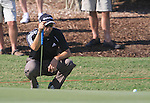 Sergio Garcia lines up his putt on the 8th green during Day 1 of the Dubai World Championship, Earth Course, Jumeirah Golf Estates, Dubai, 25th November 2010..(Picture Eoin Clarke/www.golffile.ie)
