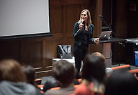 Oxy Arts Speaker Series presents artist and producer Zackary Drucker, November 27, 2017 in Choi Auditorium. Zackary Drucker is an independent artist, cultural producer, and trans woman who breaks down the way we think about gender, sexuality, and seeing. She has performed and exhibited her work internationally in museums, galleries, and film festivals including the Whitney Biennial 2014, MoMA PS1, Hammer Museum, Art Gallery of Ontario, MCA San Diego, and SF MoMA, among others. Drucker is an Emmy­ nominated Producer for the docu-­series This Is Me, as well as a Producer on Golden Globe and Emmy­ winning Transparent.<br /> Oxy Arts Speaker Series:<br /> The Oxy Arts Speaker Series brings five multidisciplinary LA­-based artists to Occidental College to engage our community in conversation about their art, their inspirations, and why they do what they do in Los Angeles today. All lectures take place in Choi Auditorium, and are free and open to the public.<br /> The Oxy Arts Speaker Series is made possible by the Arts and Urban Experience Initiative, which is generously funded by the Andrew W. Mellon Foundation.<br /> (Photo by Marc Campos, Occidental College Photographer)