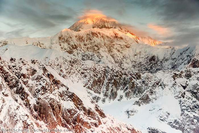 Winter landscape aerial photo of Alaska Range and Denali (Mt. McKinley) at sunrise<br /> <br /> Photo by Jeff Schultz/SchultzPhoto.com  (C) 2018  ALL RIGHTS RESERVED