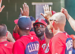 20 March 2015: Washington Nationals outfielder Tony Gwynn returns to the dugout after scoring in the first inning during a Spring Training game against the Houston Astros at Osceola County Stadium in Kissimmee, Florida. The Nationals defeated the Astros 7-5 in Grapefruit League play. Mandatory Credit: Ed Wolfstein Photo *** RAW (NEF) Image File Available ***