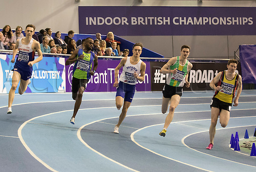 28.02.2016. EIS Sheffield, Sheffield, England. British Indoor Athletics Championships Day Two. The Men's 800m gets underway.