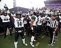 SEATTLE, WA - SEPTEMBER 14: Hawaii's (14) James Phillips (WR) gets pumped up before the college football game between the Washington Huskies and the Hawaii Rainbow Warriors on September 14, 2019 at Husky Stadium in Seattle, WA. Jesse Beals / www.Olympicphotogroup.com