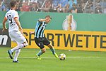 11.08.2019, Carl-Benz-Stadion, Mannheim, GER, DFB Pokal, 1. Runde, SV Waldhof Mannheim vs. Eintracht Frankfurt, <br /> <br /> DFL REGULATIONS PROHIBIT ANY USE OF PHOTOGRAPHS AS IMAGE SEQUENCES AND/OR QUASI-VIDEO.<br /> <br /> im Bild: Gianluca Korte (SV Waldhof Mannheim #17) bereitet das Tor zum 1:0 durch Valmir Sulejmani (SV Waldhof Mannheim #9) vor<br /> <br /> Foto © nordphoto / Fabisch