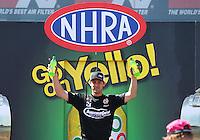 Apr 12, 2015; Las Vegas, NV, USA; NHRA pro stock driver Vincent Nobile during the Summitracing.com Nationals at The Strip at Las Vegas Motor Speedway. Mandatory Credit: Mark J. Rebilas-
