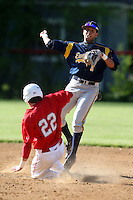 """May 10,2010:  Shortstop Chris """"Cito"""" Culver (1) of the Irondequoit Eagles attempts to turn a double play in a game vs. the Canandaigua Braves during a Monroe County regular season game at Evans Field in Canandaigua, NY.  The game was called with a 19-19 score after 7 innings because of darkness.  Photo by Mike Janes/Four Seam Images"""