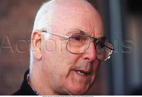 MURRAY WALKER, commentator, portrait, Brands Hatch, 970313. Photo: Chris Brown/Action Plus...1997.commentator commentators.media.TV television.presenter presenters.Portrait