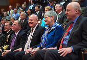 Director of National Intelligence James Clapper (center left) sits with his wife, Sue, during a ceremony marking the 10th anniversary of the formation for the Office of the Director of National Intelligence, at it's headquarters on April 24, 2015 in McLean, Virginia. <br /> Credit: Kevin Dietsch / Pool via CNP