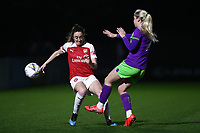 Lisa Evans of Arsenal and Poppy Pattinson of Bristol during Arsenal Women vs Bristol City Women, FA Women's Super League Football at Meadow Park on 14th March 2019